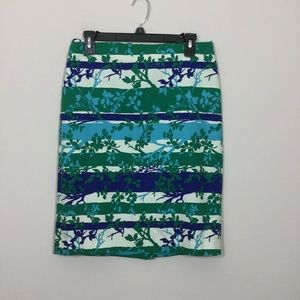 Talbots Size 6 Green Blue Striped Floral Skirt